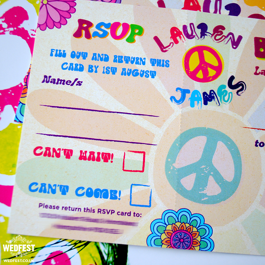 flower power hippie wedding invites