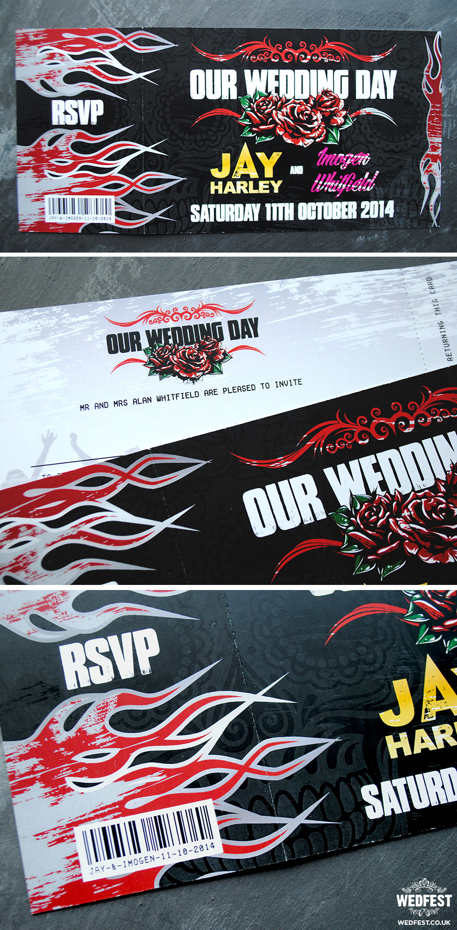 heavy metal wedding invites