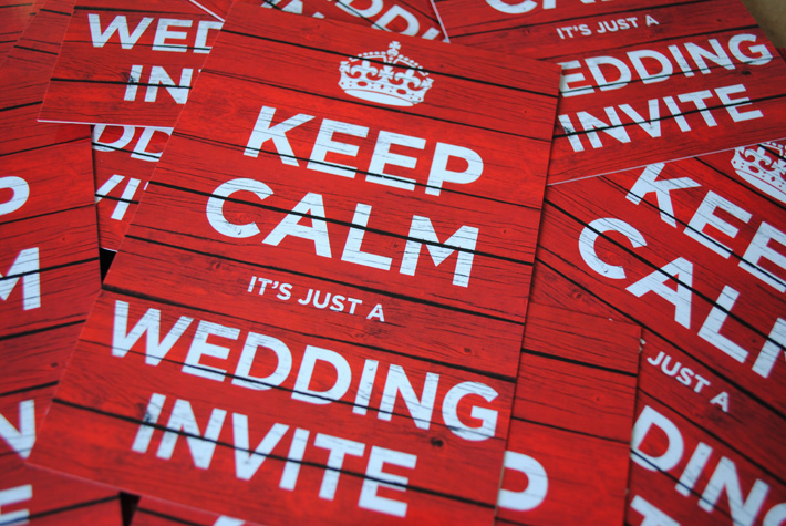 keep calm carry on wedding invitations