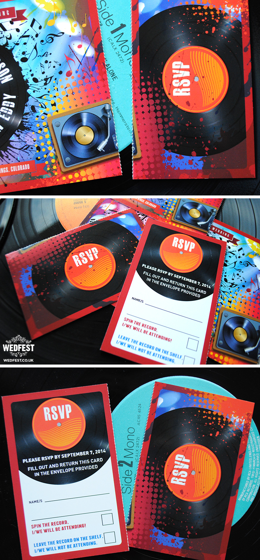 vinyl record music wedding invitation
