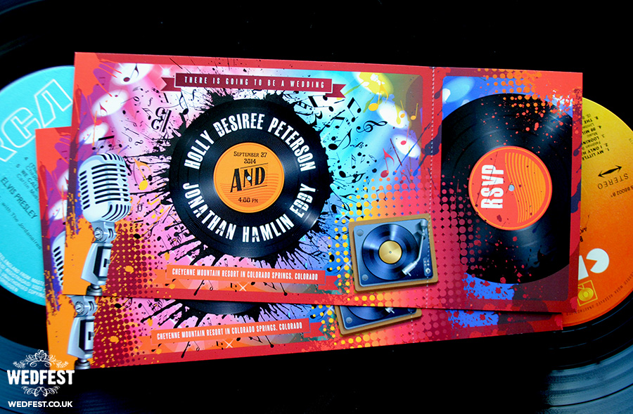 vinyl record wedding invitations