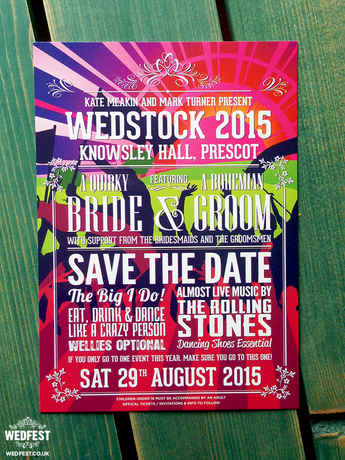 wedstock wedfest festival wedding save the date