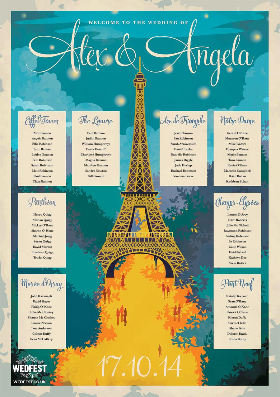 Paris Themed Wedding Table Plan