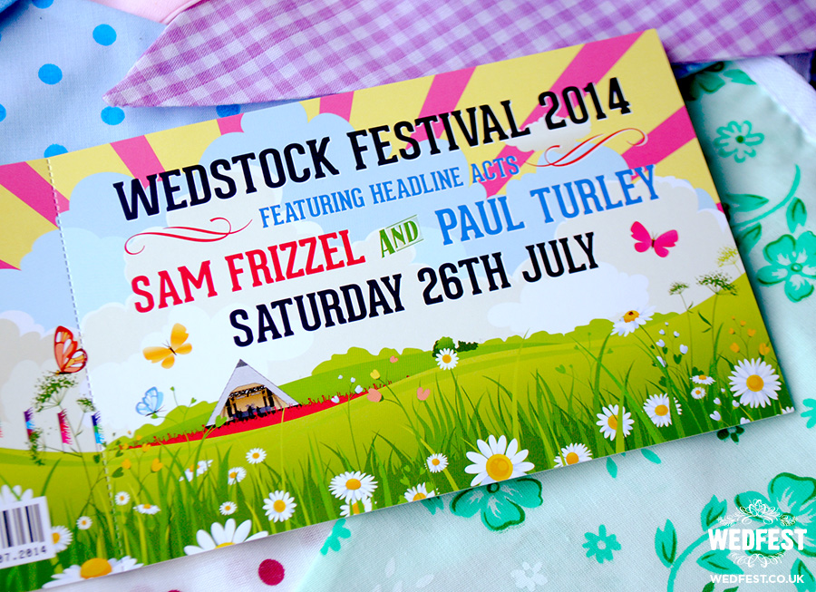 sam and paul wedstock festival wedding invite