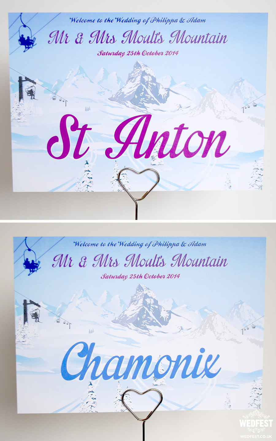 skiing wedding stationery