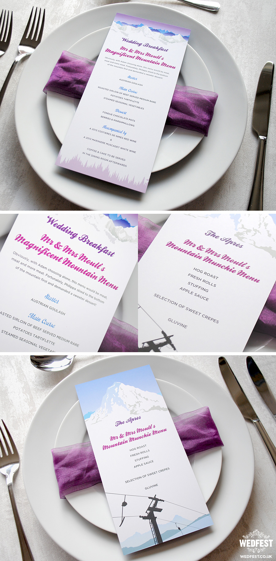 wedding menus winter ski theme wedding