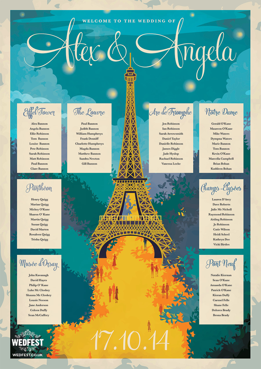 Paris Themed Wedding Table Plan