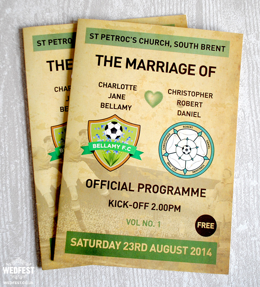 football programme wedding order of service mass booklet