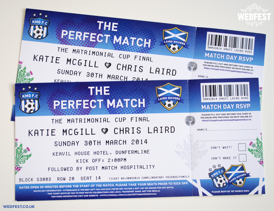 Wedding Invitation Tickets: Football Themed Wedding Stationery