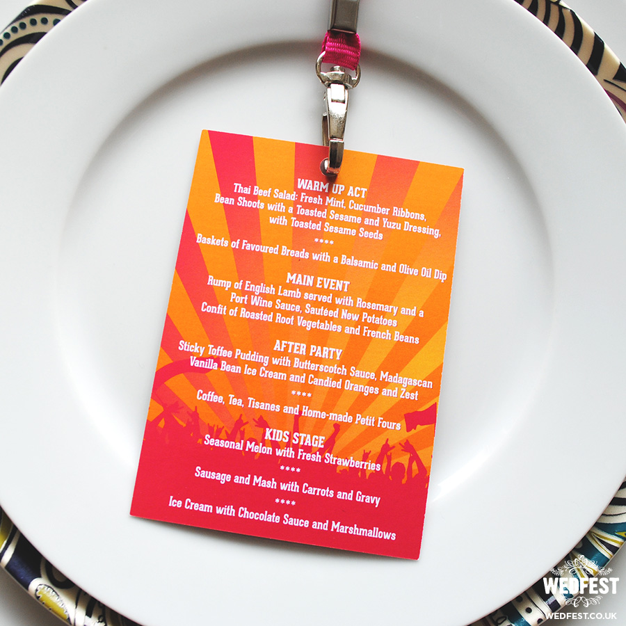 Wedding Place Name and Wedding Menu Lanyard