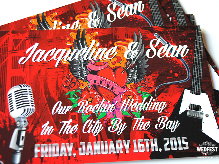 Rock n Roll San Francisco themed wedding invites