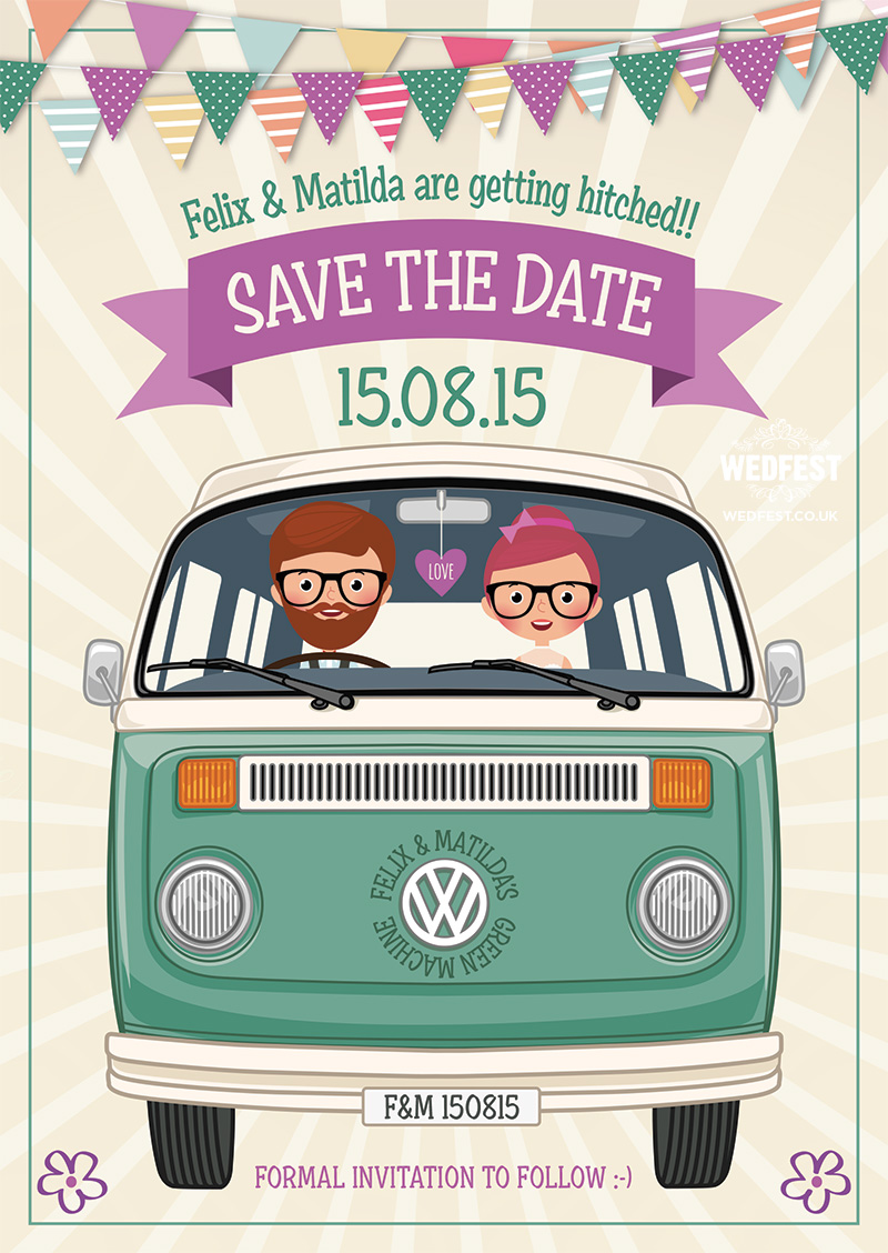 VW Campervan Hipster themed wedding save the date