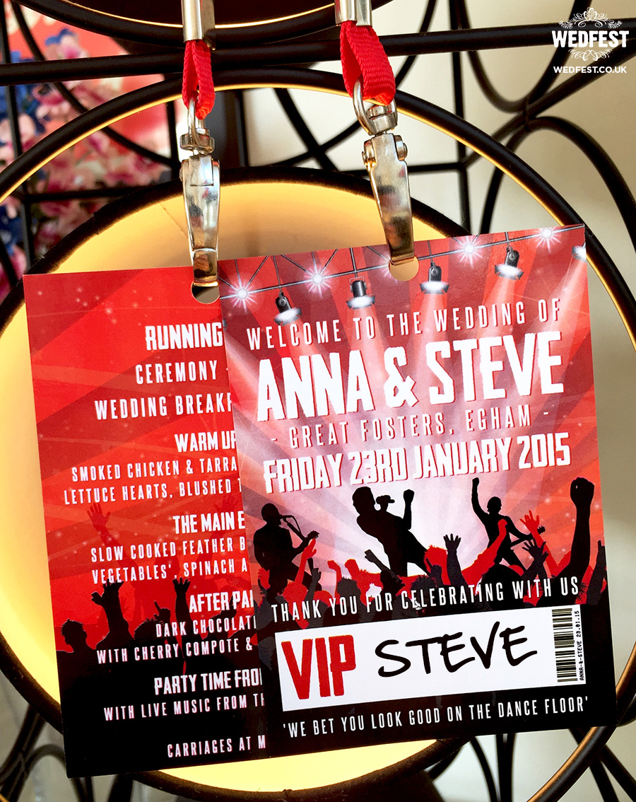 concert theme wedding vip lanyard pass