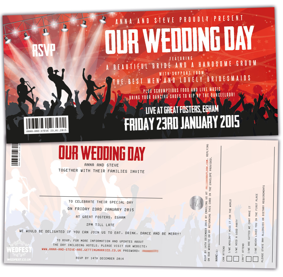 concert themed wedding invitations