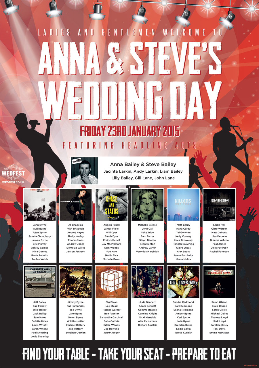 concert themed wedding table plan