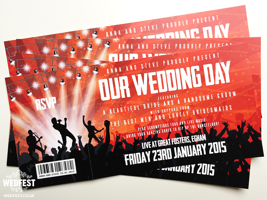 Wedding Invitation Tickets: Concert Themed Wedding