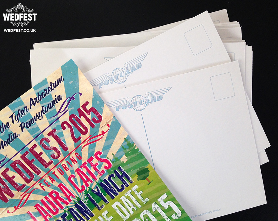festival wedding save the date postcards