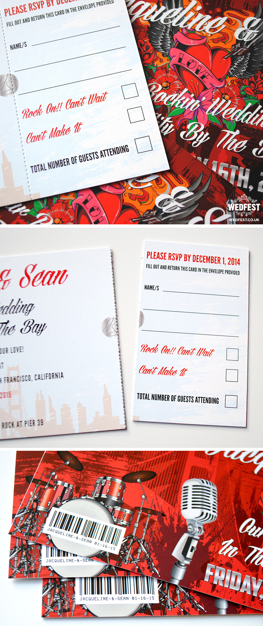 Rock n Roll San Francisco themed Wedding Invites | WEDFEST