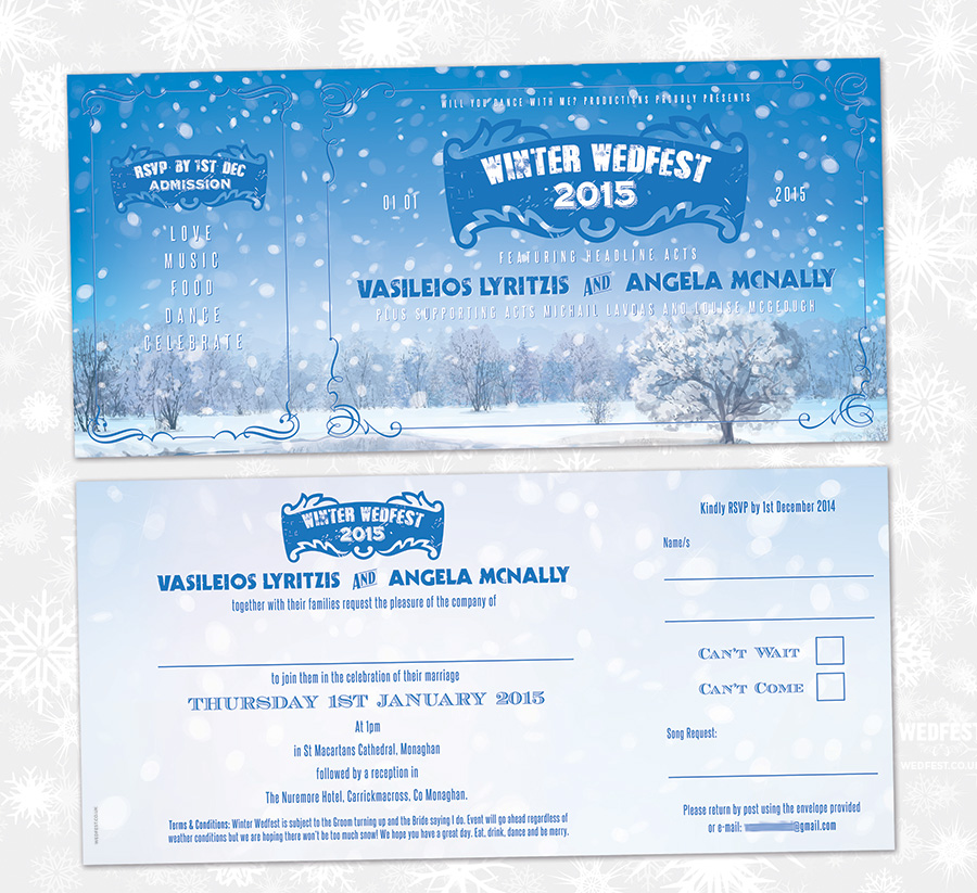 winter themed wedding invites