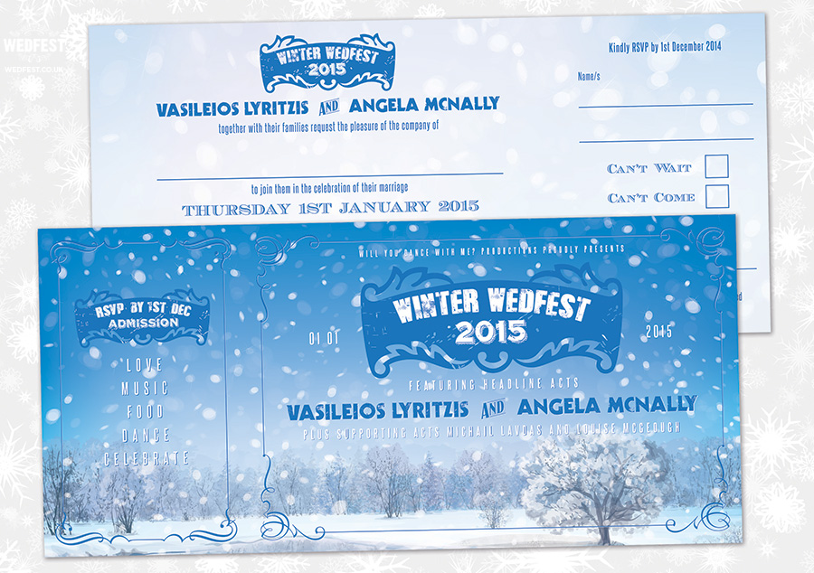 winter wedfest wedding invitations