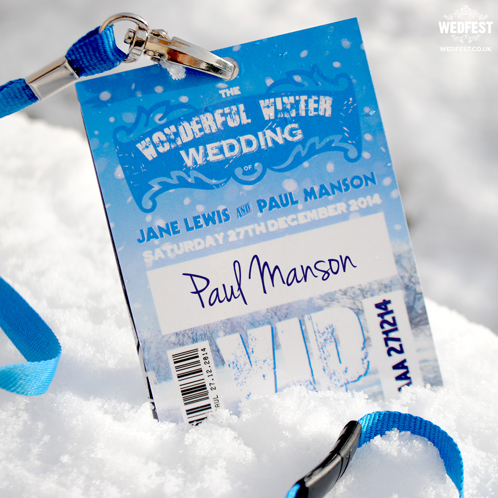 wonderful winter wedding vip lanyards