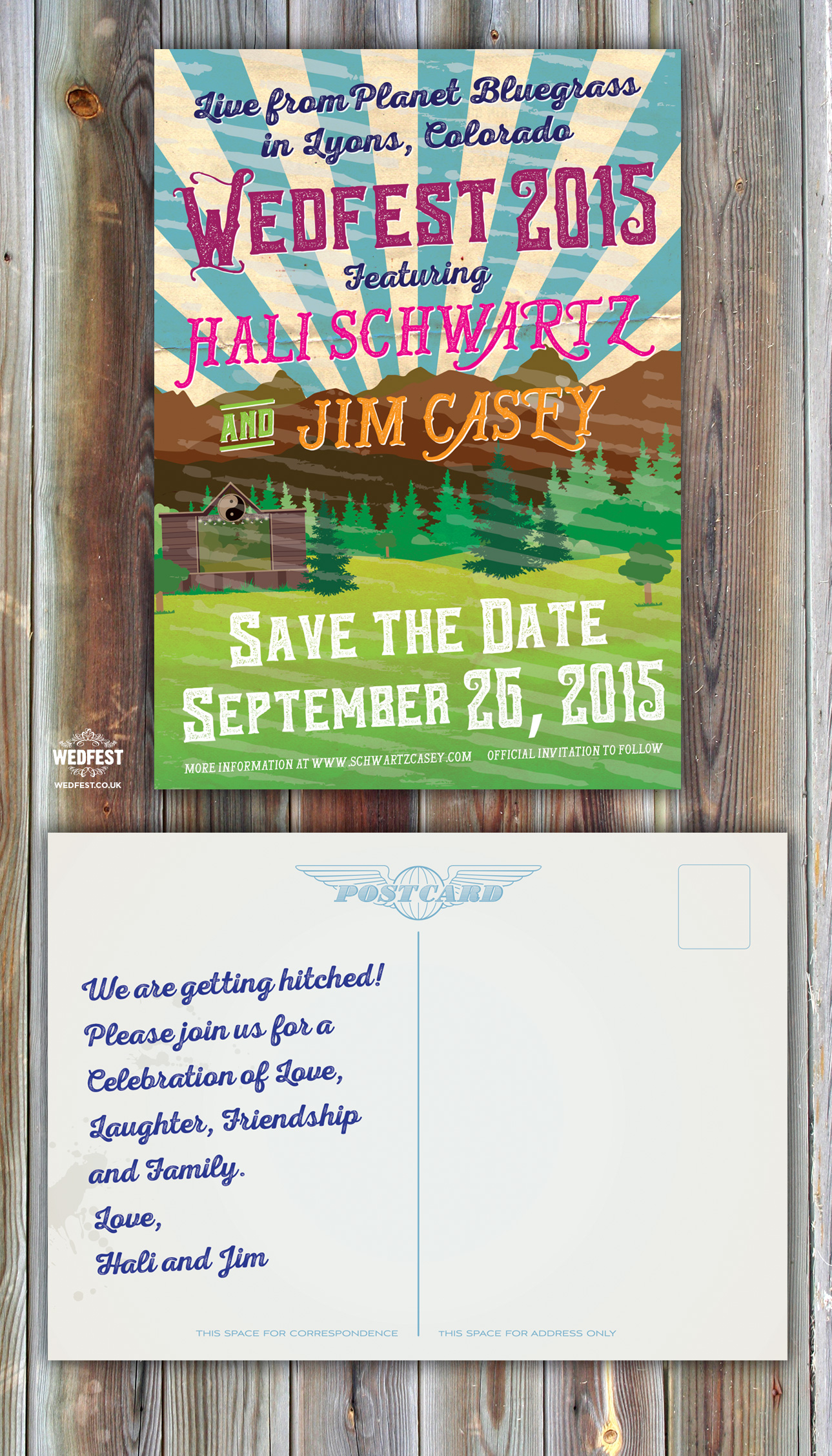 wedfest american wedding postcard save the date