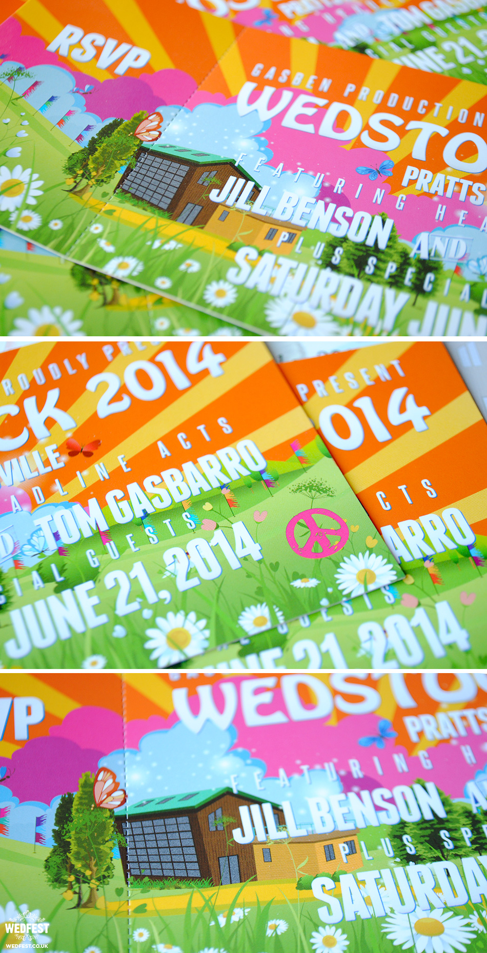 Wedstock Wedding Festival Invites