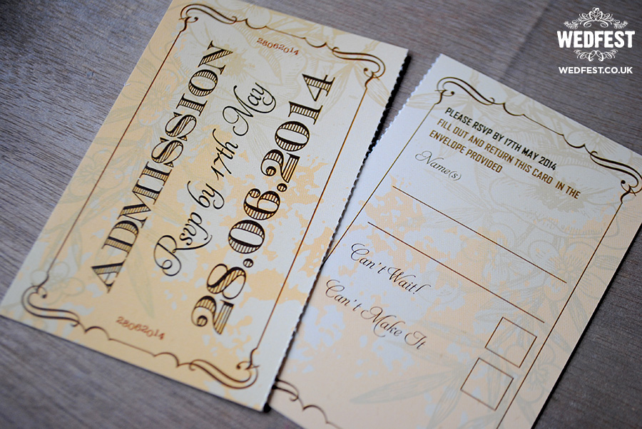 Cheap Shabby Chic Wedding Invitations: Vintage Ticket Style Wedding Invites