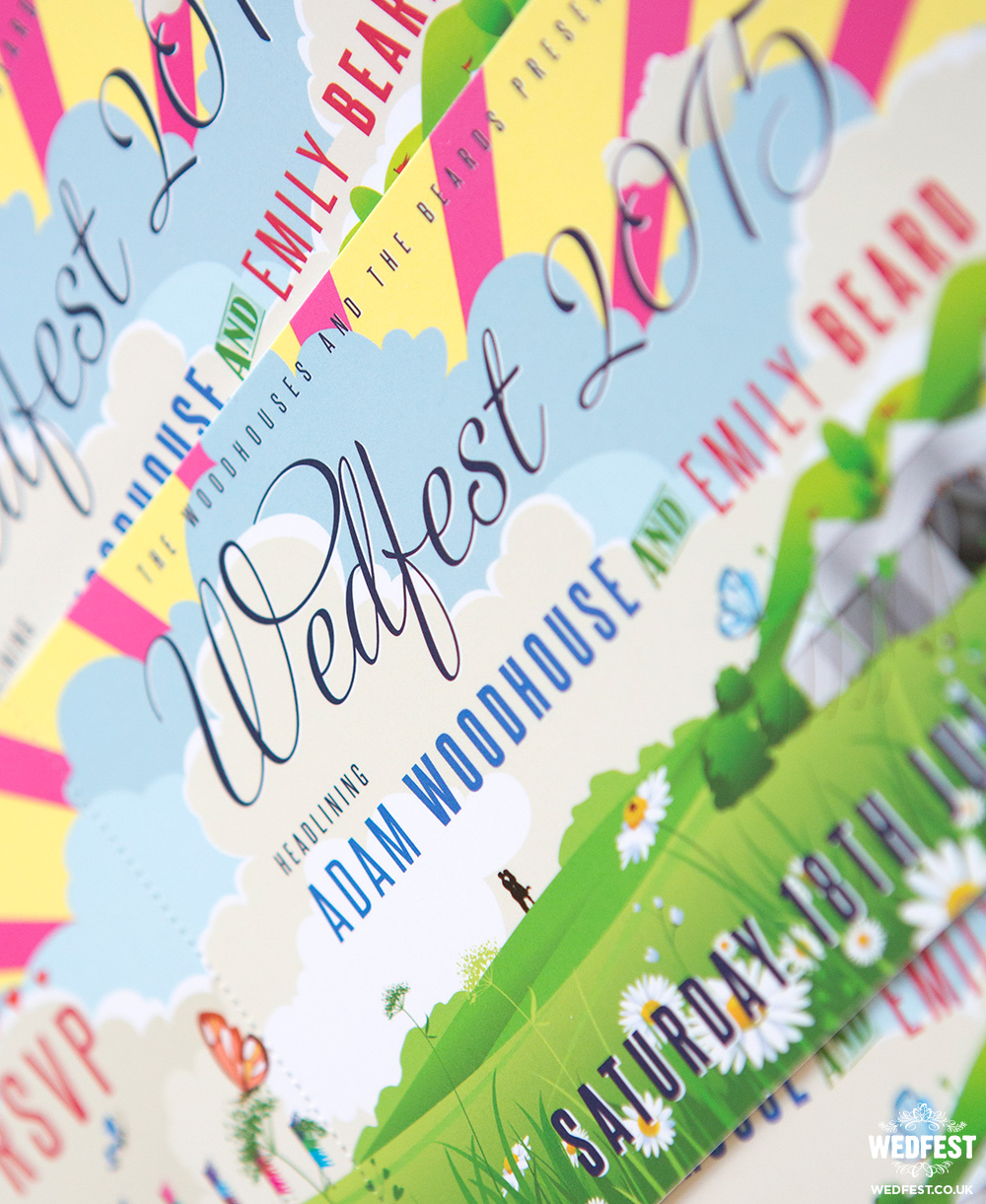 festival wedding invitations by wedfest