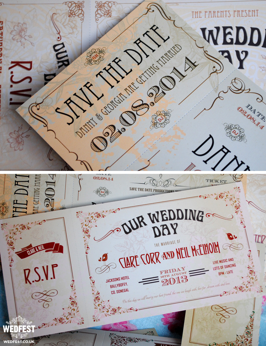 Vintage Ticket Style Wedding Invites | WEDFEST