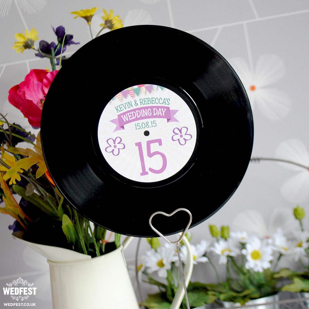 "7"" vinyl record wedding table numbers"