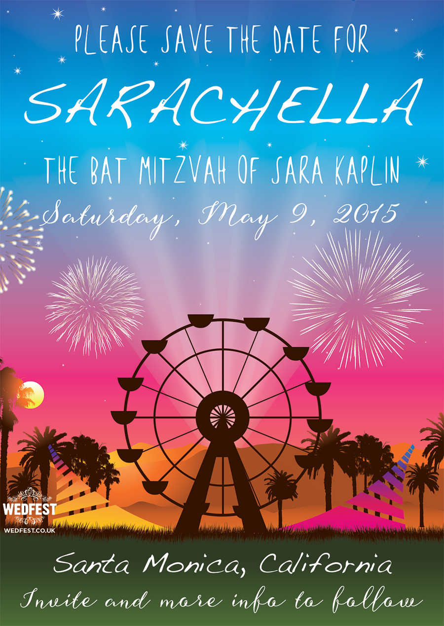 festival bat bar mitzvah invitation