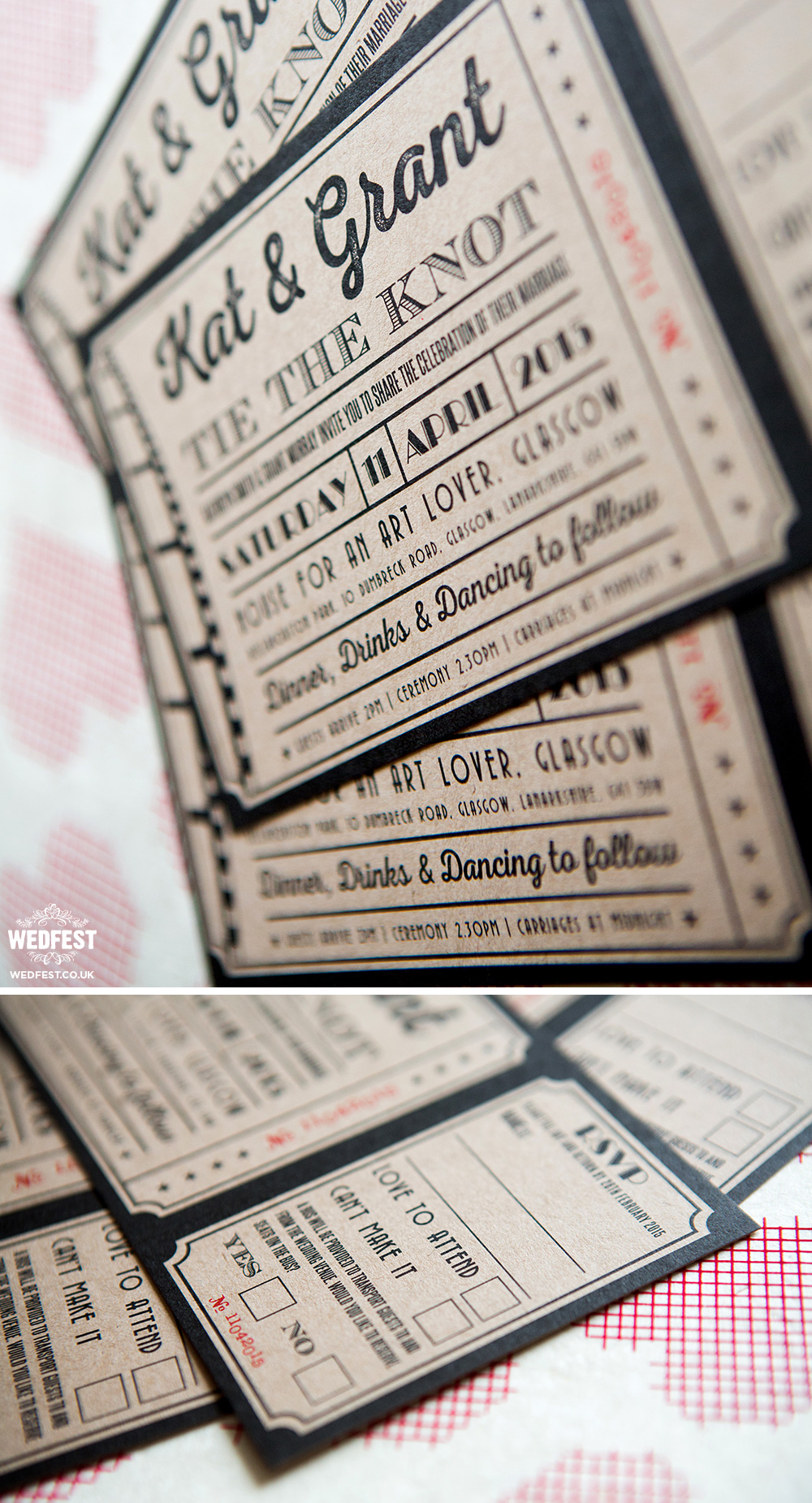 kraft card ticket wedding invitations