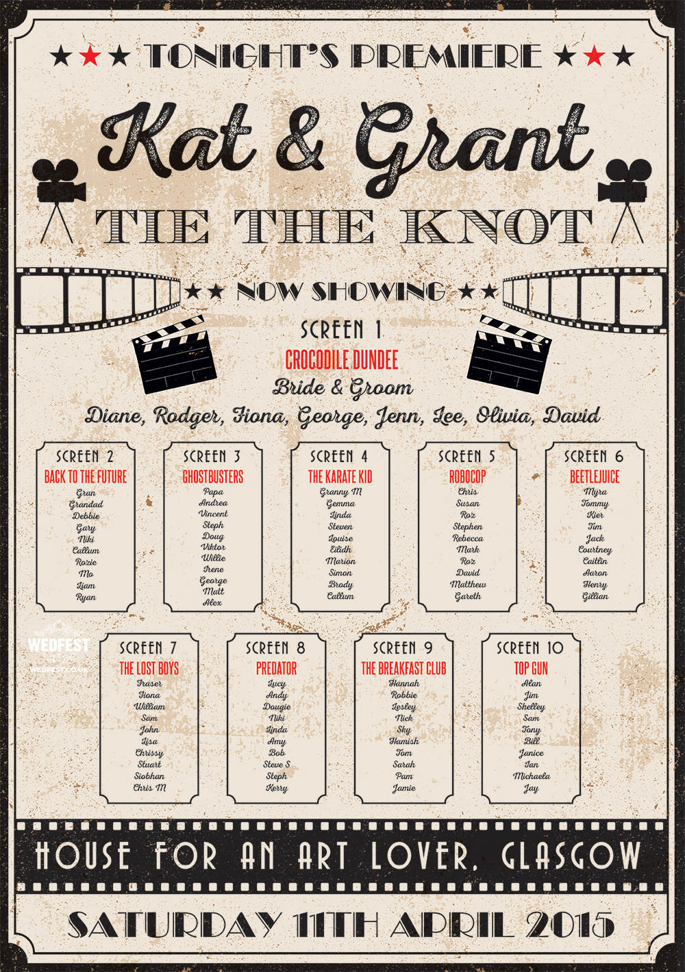 vintage cinema poster wedding table seating plan