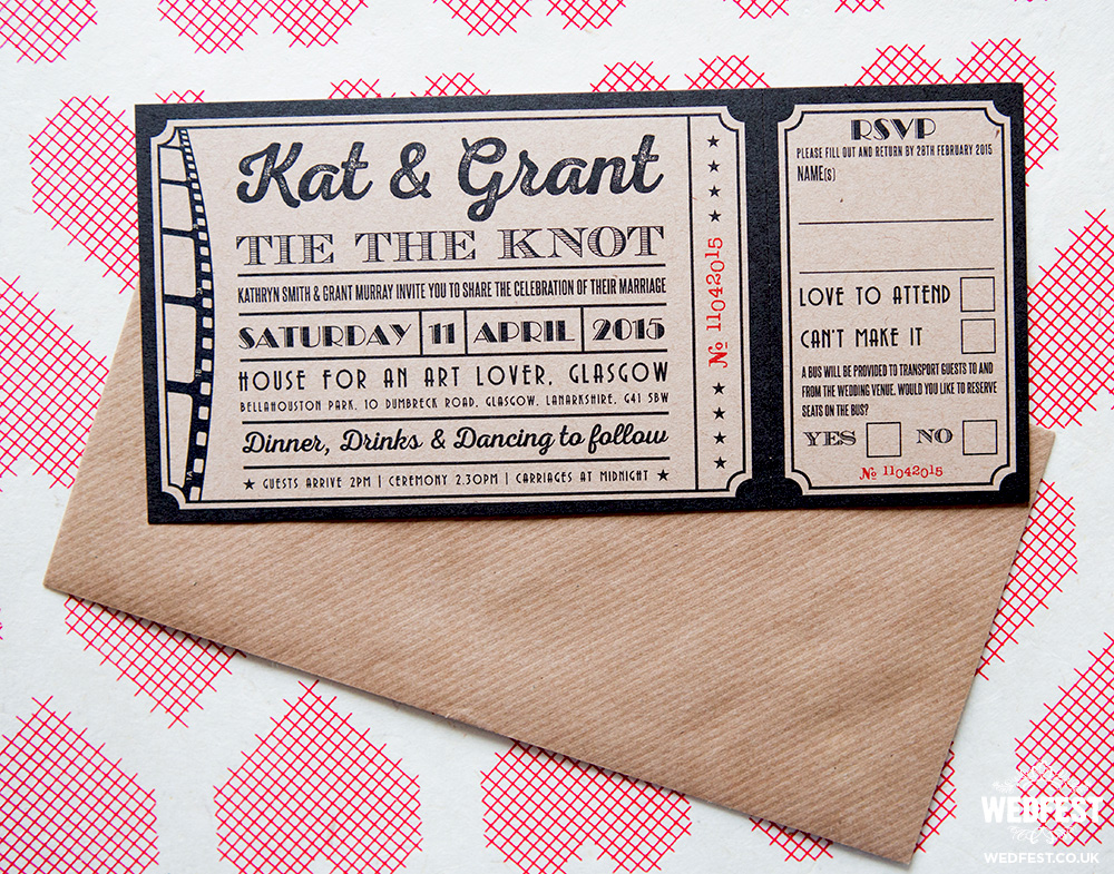 vintage cinema ticket wedding invites