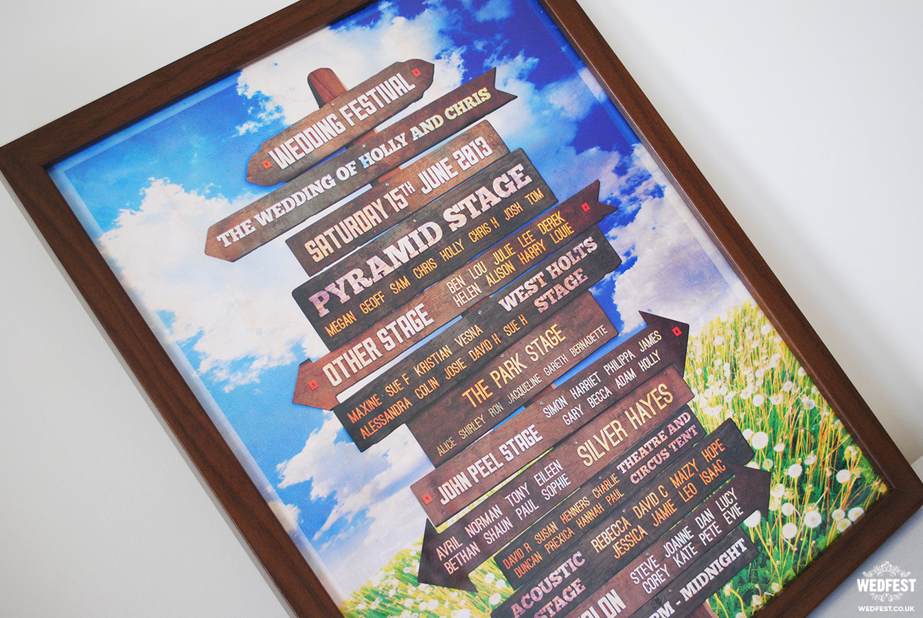 wedfest wooden sign wedding table plan