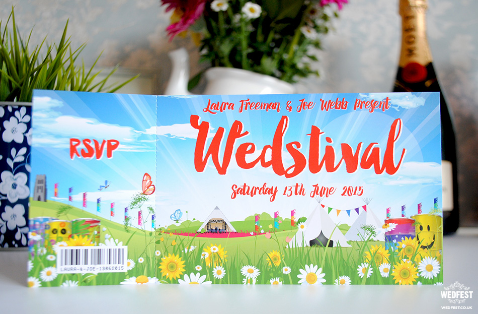 festival wedding invite ticket