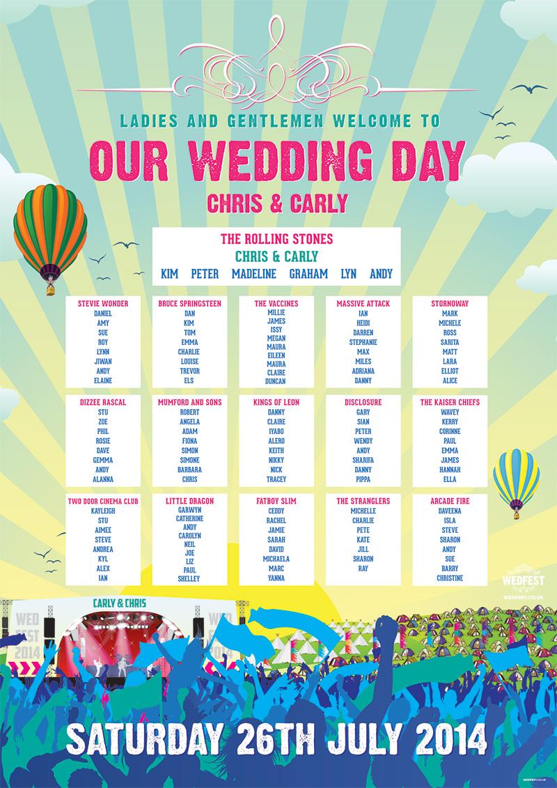 WEDFEST festival wedding seating plan