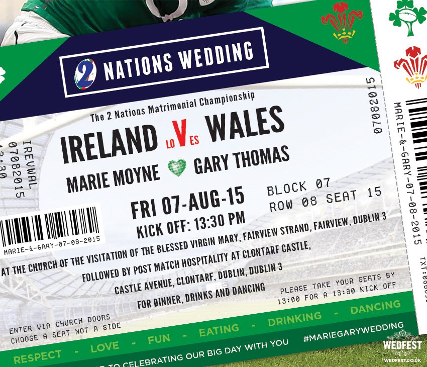 Ireland v Wales Rugby Ticket Wedding Invites