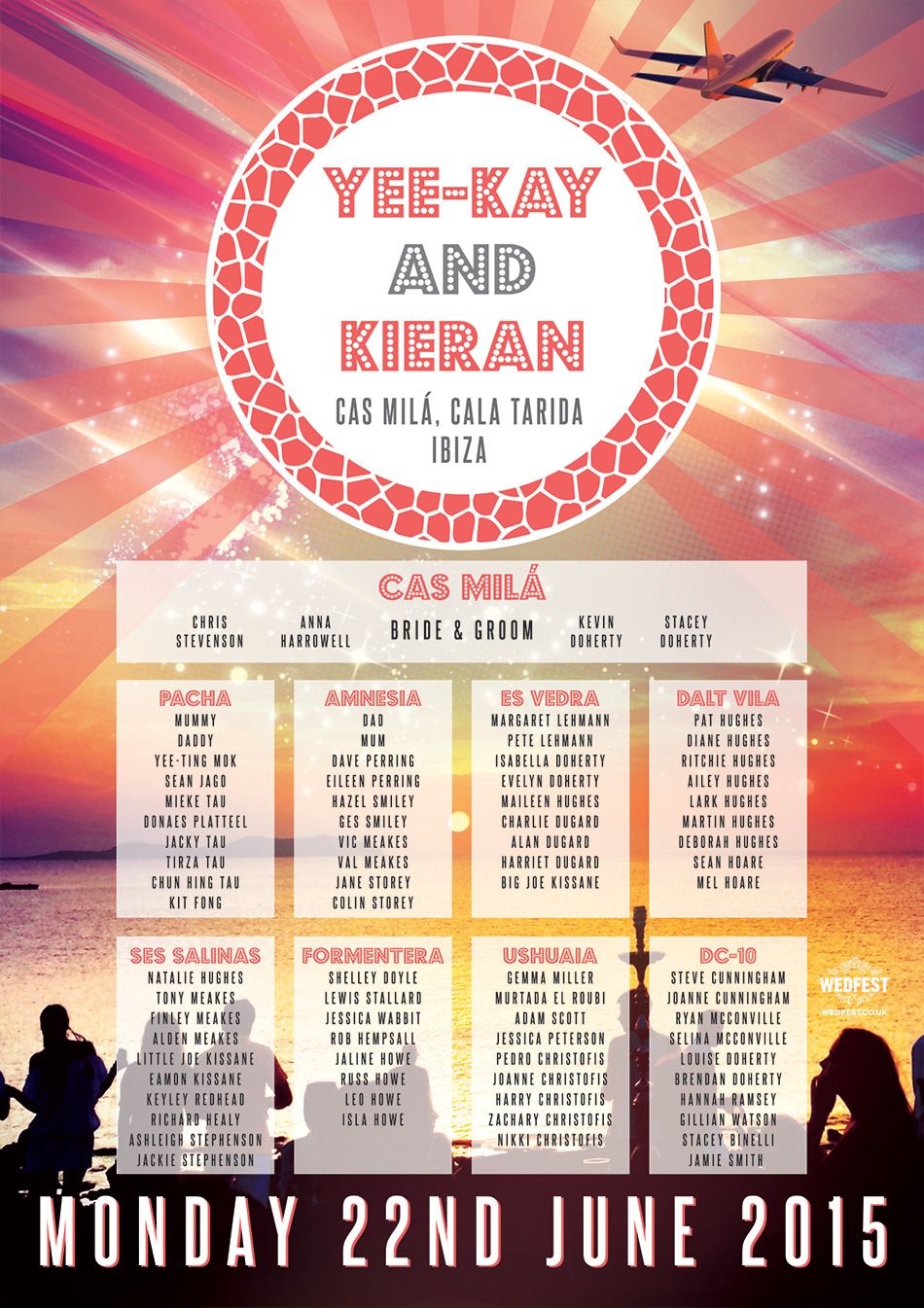 Cas Mila, Cala Tarida, Ibiza Wedding Seating Plan