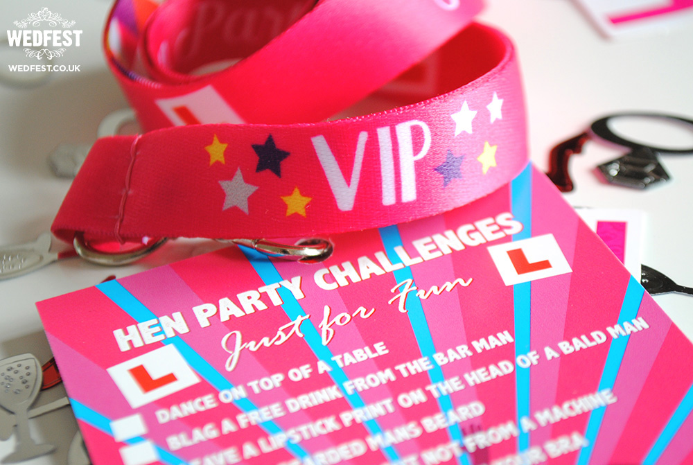 hen party challenges lanyard cards
