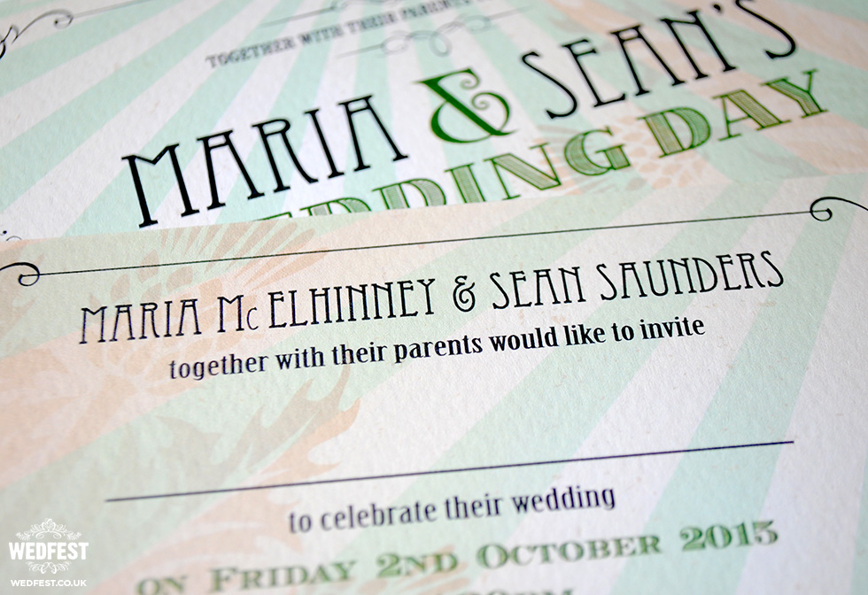 mint green chic wedding invitations