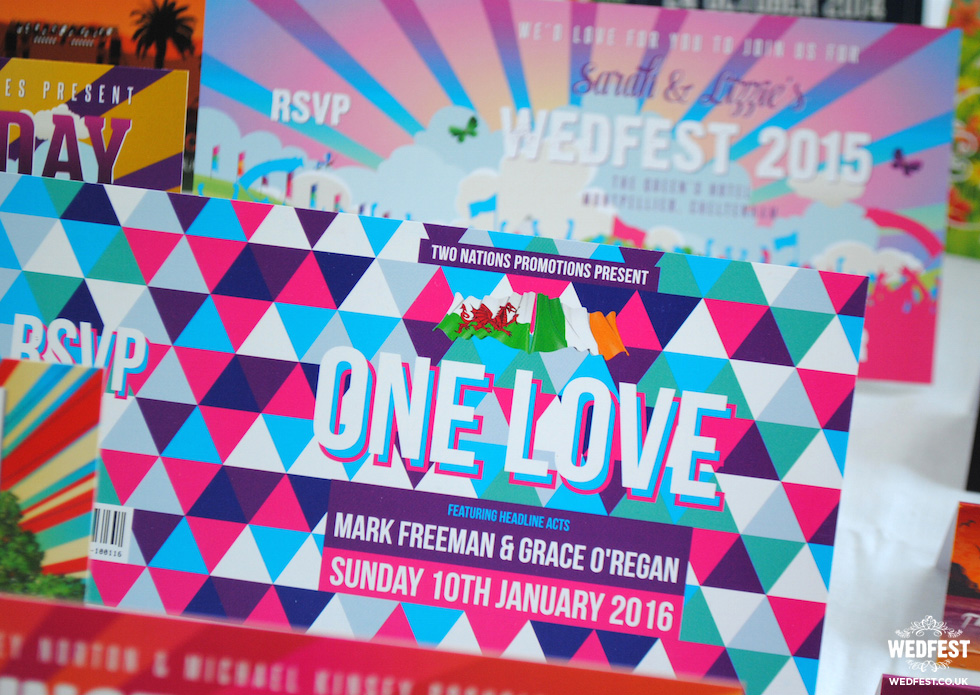 one love geometric wedding invitation