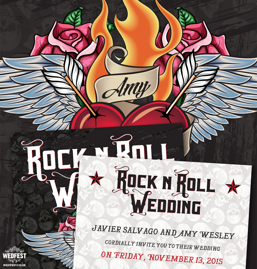 Tattoo heart rock n roll wedding invitation