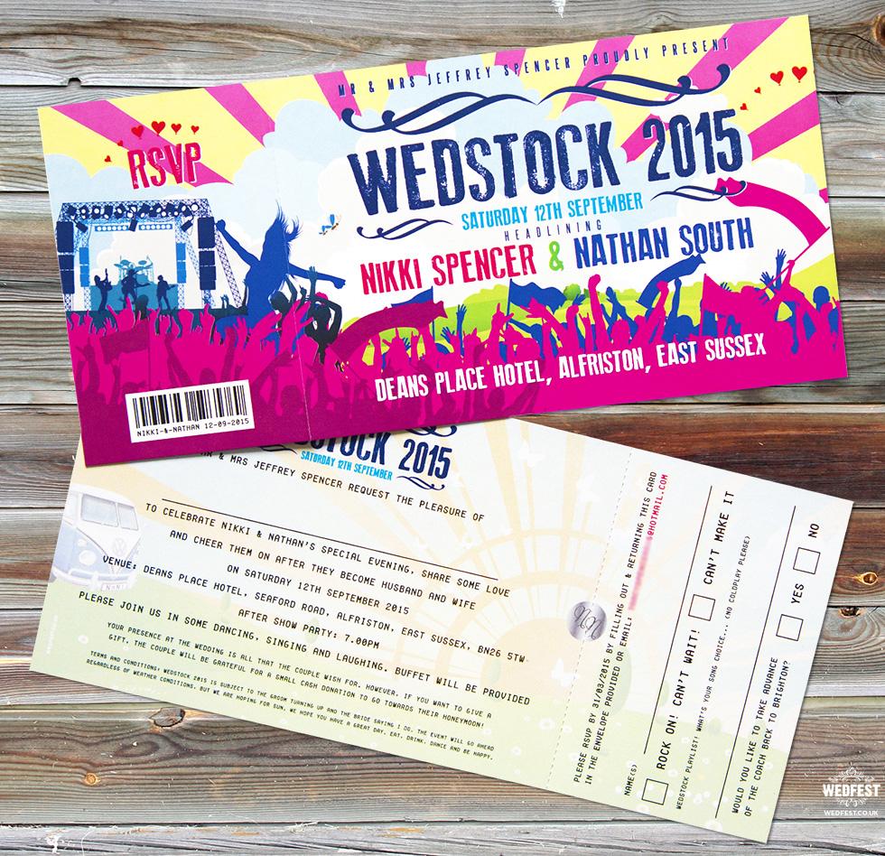 wedstock festival wedding invitation