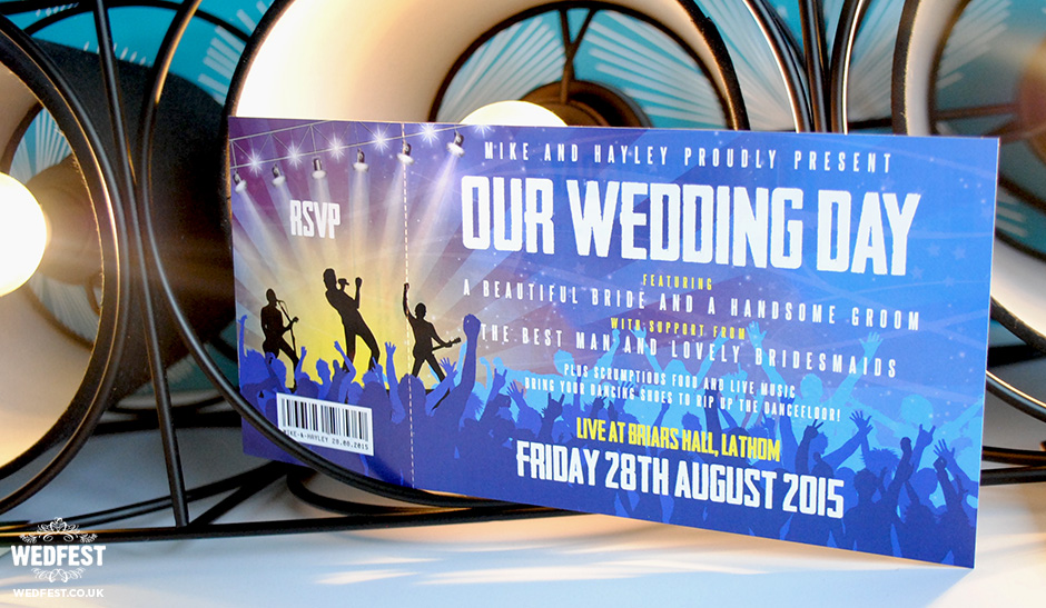 concert gig ticket wedding invites wedfest