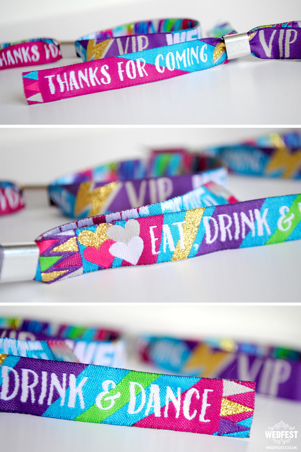 generic wedfest festival wedding wristbands
