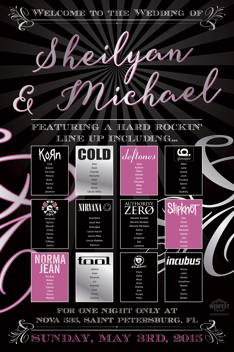 rock bands wedding seating table plan