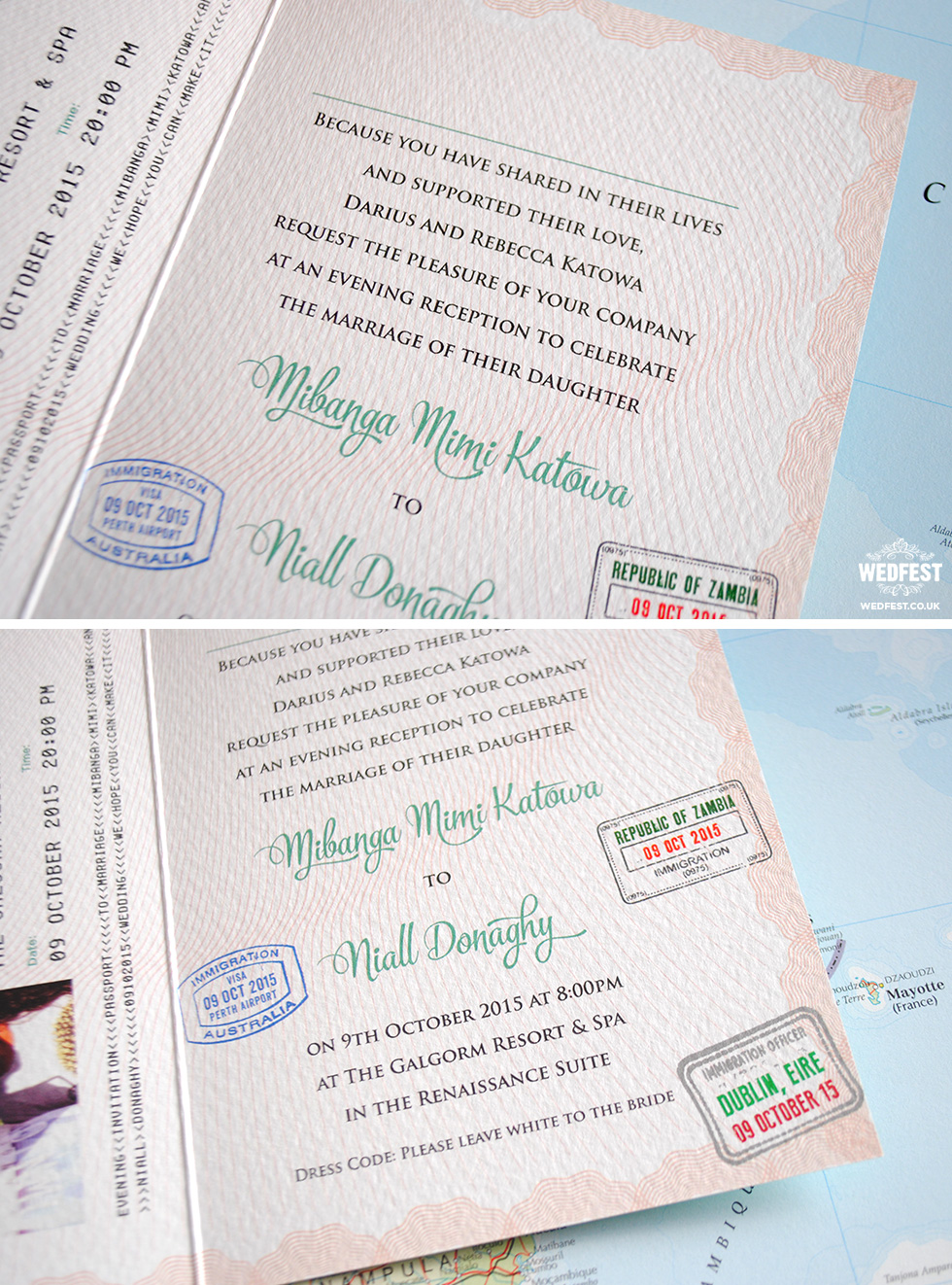 Personalised Passport Wedding Invites