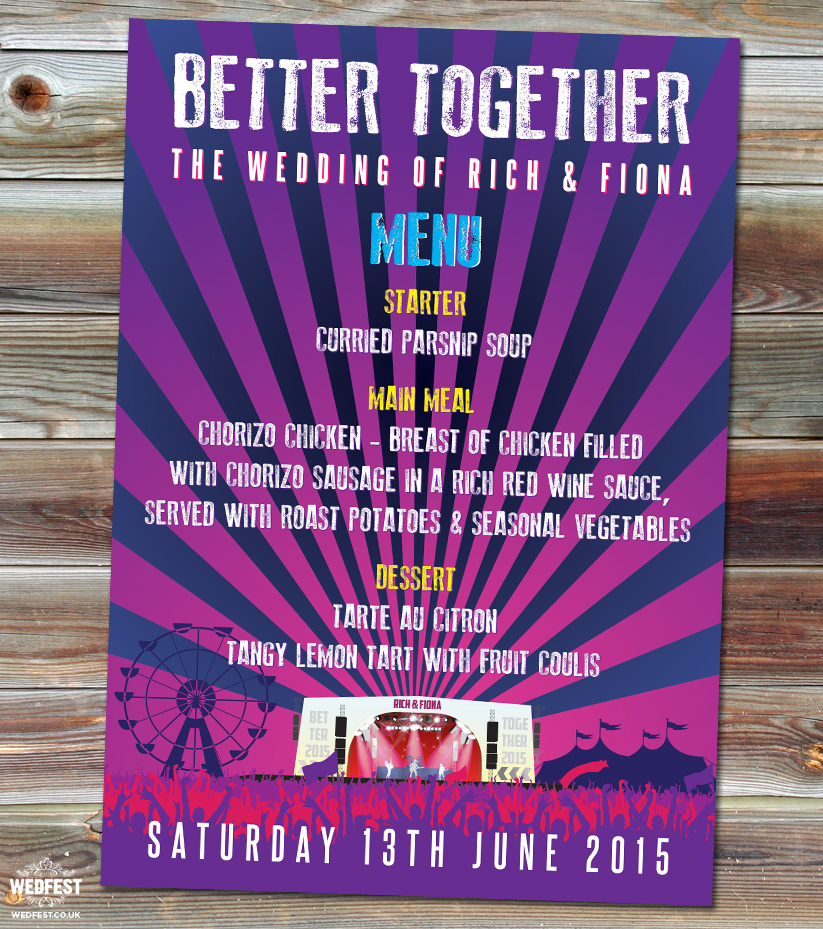 better together festival wedding menu